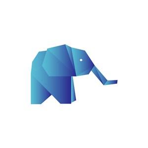 蓝色抽象立体大象矢量logo元素
