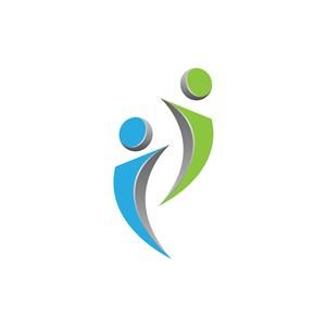 蓝色绿色小人矢量logo图标设计