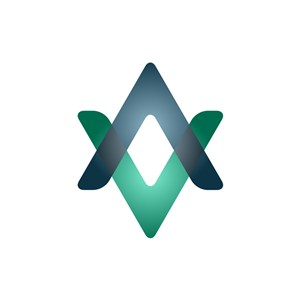 蓝色绿色V字交叉科技矢量logo设计