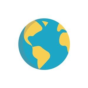 蓝色黄色卡通地球矢量logo图标