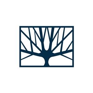 蓝色正方形树矢量logo图标素材下载