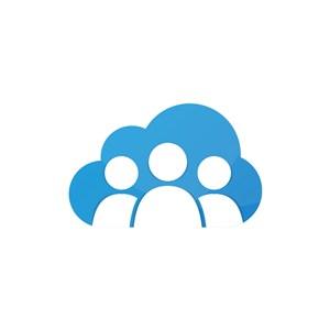 蓝色云人形矢量logo图标素材下载