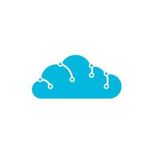 蓝色云朵矢量logo图标素材下载
