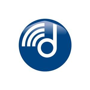 网络信号logo设计-蓝色圆形无线d字母标志设计素材下载