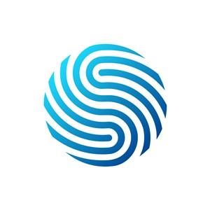 蓝色圆形抽象指纹矢量图形logo图标素材下载