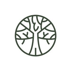 家居品牌logo设计--线条大树logo图标素材下载