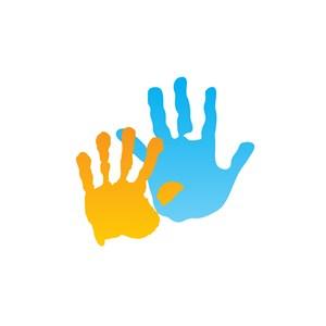 两个手掌印logo图标素材下载