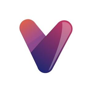 立体紫色渐变v字形矢量logo图标素材下载