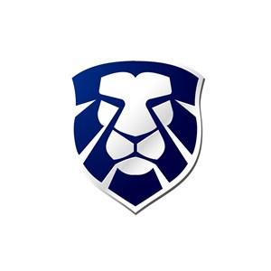 蓝色狮子盾牌矢量logo图标素材下载
