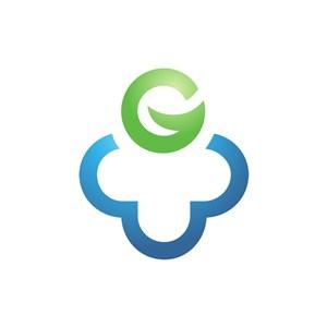 蓝色云朵绿色字母G矢量logo图标素材下载