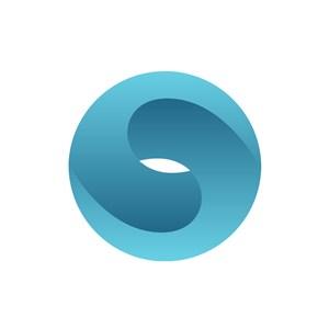 蓝色圆形矢量logo图标素材下载