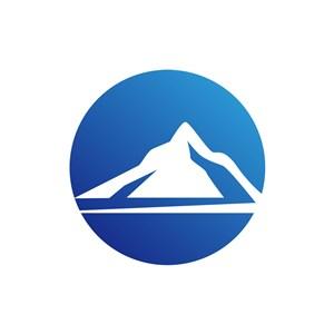 蓝色圆形山矢量logo图标素材下载