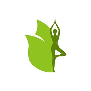 瑜伽馆logo设计--美女瑜伽叶子logo图标素材下载
