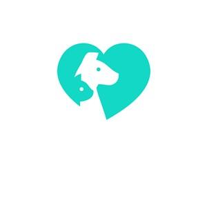 寵物店logo設計--心形狗狗logo圖標素材下載