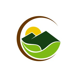 度假旅游logo设计--生态绿叶大山logo图标素材下载