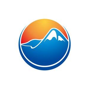 度假旅游logo设计--山行太阳圆形logo图标素材下载