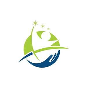 运动休闲logo设计--人物手logo图标素材下载