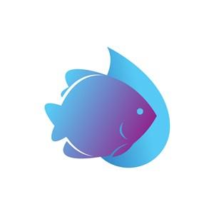 蓝色热带鱼矢量logo图标素材下载