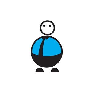 蓝色幽默卡通人物logo图标素材下载