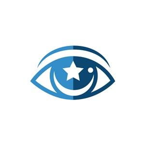 设计传媒logo设计-蓝色眼睛星星矢量logo图标素材下载