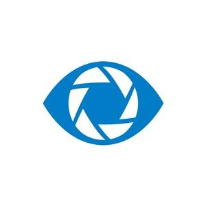 网络社交媒体logo设计-蓝色眼睛相机矢量logo图标素材下载