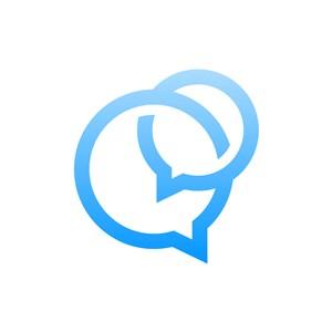 蓝色消息框矢量logo图标素材下载
