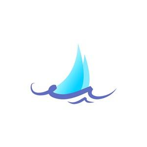 户外海上运动logo设计-蓝色水帆船矢量logo图标素材下载