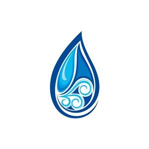 蓝色水滴状珠宝矢量logo图标素材下载