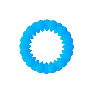 蓝色水滴圆形矢量logo图标素材下载