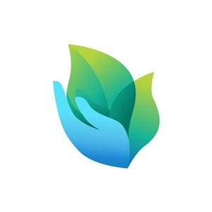蓝色手叶子矢量logo图标素材下载
