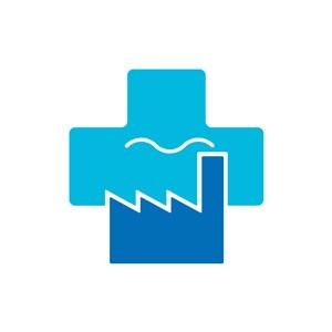 环境保护logo设计-蓝色十字和建筑矢量立体阶梯图表设计