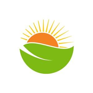 酒店旅游logo设计--绿叶太阳logo图标素材下载