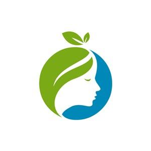 美容logo设计--绿叶人脸logo图标素材下载