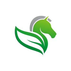 设计传媒logo设计--绿叶马logo图标素材下载