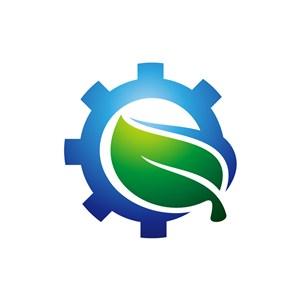 设计logo设计--绿叶齿轮logo图标素材下载