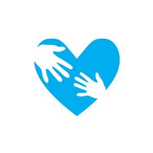 医疗妇幼logo设计-蓝色心形手掌矢量logo图标素材下载