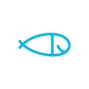 蓝色小鱼矢量logo图标素材下载