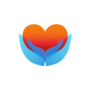 医疗妇幼logo设计-蓝色手心形矢量logo图标素材下载