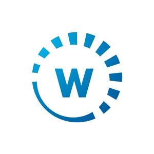 蓝色W字母标志设计素材下载