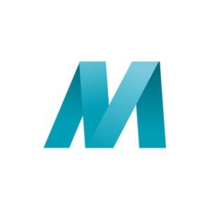 蓝色字母M字母标志设计素材下载
