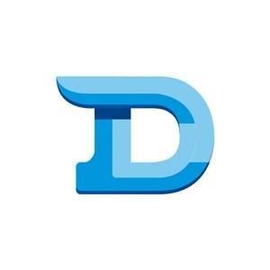 蓝色D字母标志设计素材下载