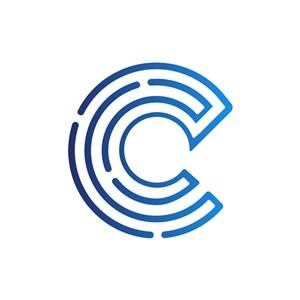 蓝色字母C字母标志设计素材下载