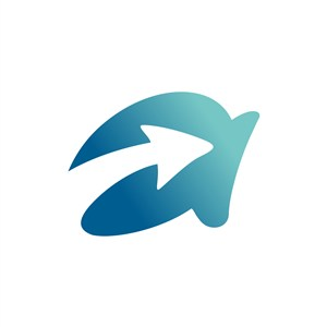 蓝色字母a字母箭头标志设计素材下载