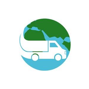 物流快递logo设计-绿色货车地球球矢量logo图标素材下载