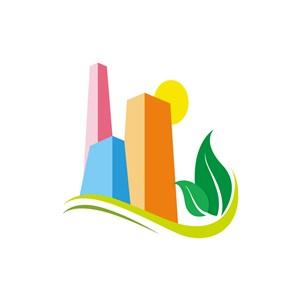 绿色环保建筑群矢量logo图标素材下载