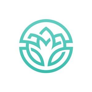 绿色花朵矢量logo图标素材下载