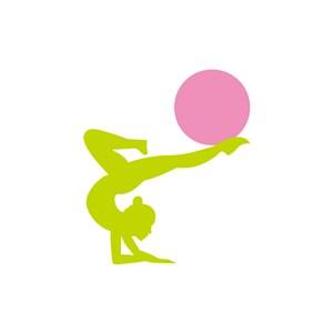 瑜伽logo设计-绿色粉色人物球矢量logo图标素材下载