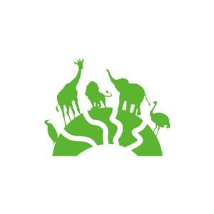 旅游logo設計-綠色動物矢量logo圖標素材下載