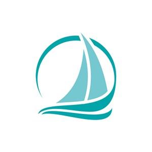 绿色抽象帆船矢量logo图标素材下载