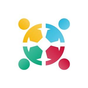 商务贸易logo设计--人物拉手logo图标素材下载